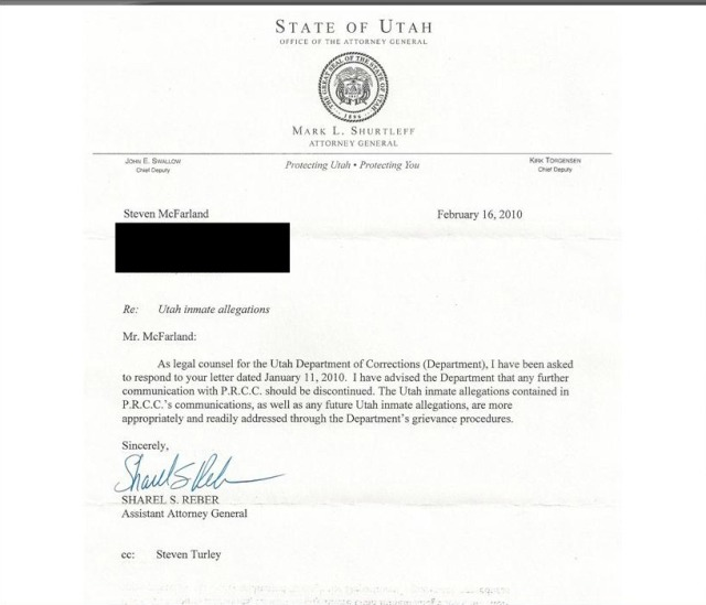 The letter we received from the UT AG after sending him 2 boxes of documents concerning abuse in Draper's Solitary Unit